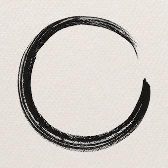 Okrągły abstrakcyjny czarny pociągnięcie pędzla
