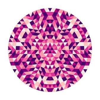 Okrągły abstrakcyjny trójkąt geometryczny kalejdoskopowy projekt mandali - symetryczny wektor wzór sztuki z kolorowych trójkątów