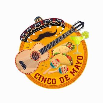 Okrągły baner cinco de mayo z tradycyjnym meksykańskim kapeluszem sombrero