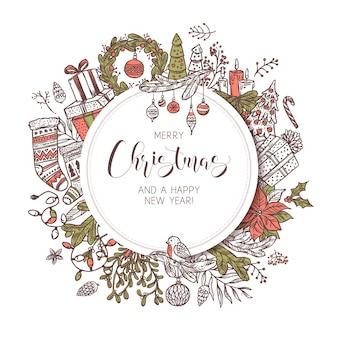 Okrągły baner, etykieta lub emblemat wesołych świąt i szczęśliwego nowego roku z uroczymi rysunkowymi świątecznymi elementami i dekoracjami. szkic tło wakacje i ilustracji