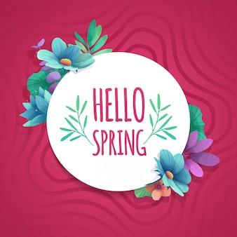 Okrągły baner z logo hello spring. karta na sezon wiosenny z białą ramką i zioła. oferta promocyjna z dekoracją wiosennych roślin, liści i kwiatów na różowym tle.