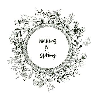 Okrągły baner z ramą ze sznurka i drobną zielenią i motylami. ręcznie rysowane ilustracji.