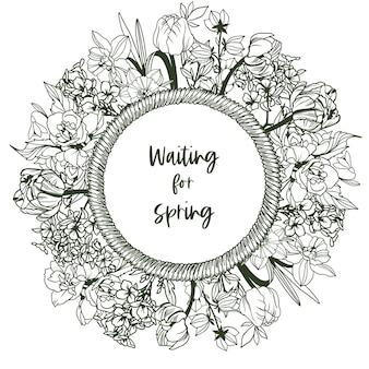 Okrągły baner z ramą ze sznurka i drobnymi wiosennymi kwiatkami - narcyzami, przebiśniegami, tulipanami, konwaliami. ręcznie rysowane ilustracji.