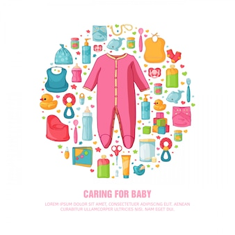 Okrągły baner z wzorem z dzieciństwa. laska noworodka do dekoracji. koło szablony projektu dla karty, zaproszenia z ubraniami, zabawkami, akcesoriami dla dziewczynki pod prysznic. .
