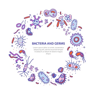 Okrągły banner bakterii