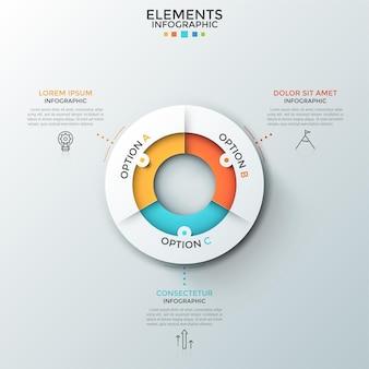 Okrągły biały diagram podzielony na 3 kolorowe sektory, liniowe ikony i pola tekstowe. koncepcja trzech opcji wyboru. szablon projektu czysty plansza. do prezentacji.