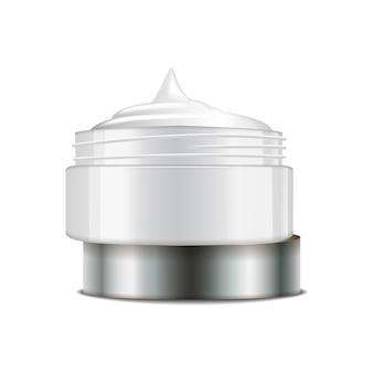 Okrągły biały plastikowy słoiczek ze srebrnym wieczkiem na kosmetyki. otwórz pojemnik. szablon