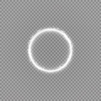 Okrągły błyszczący okrąg ze światłami. streszczenie luksusowy pierścień światła.