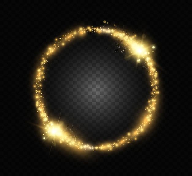 Okrągły błyszczący piękne światło. magiczny krąg. okrągła złota błyszcząca ramka z lekkimi wybuchami.