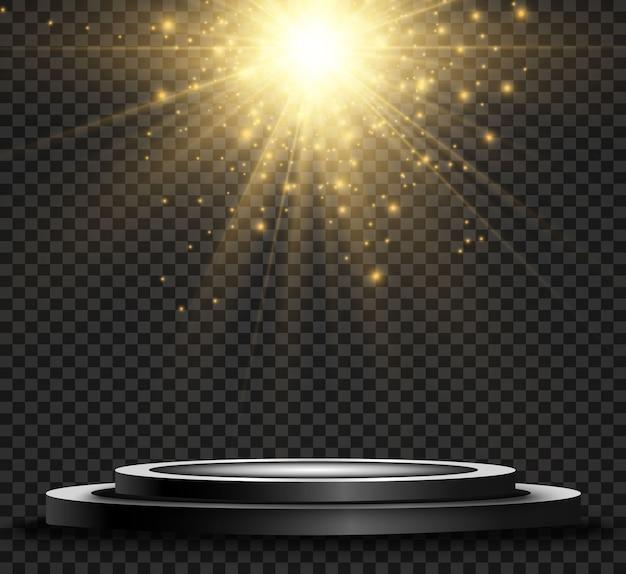 Okrągły cokół lub platforma na podium oświetlona reflektorami. jasne światło światło z góry