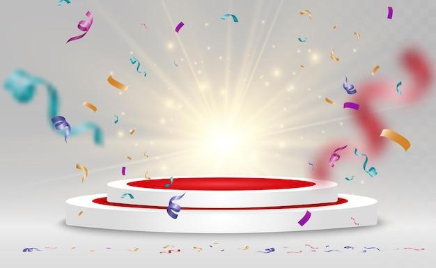 Okrągły cokół. podium zwycięzcy z konfetti.