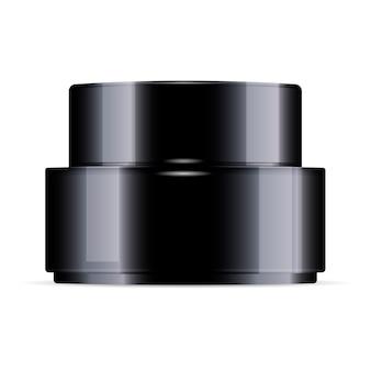 Okrągły czarny kremowy plastikowy słoik z pokrywką