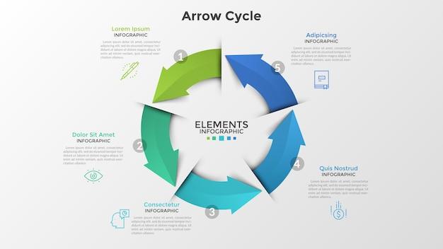 Okrągły diagram z pięcioma kolorowymi strzałkami, symbolami cienkich linii i polami tekstowymi. koncepcja cyklicznego, 5-stopniowego procesu biznesowego. szablon projektu realistyczny plansza. ilustracja wektorowa do prezentacji.