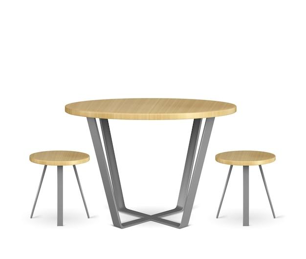 Okrągły drewniany stół i krzesła koło na białym tle