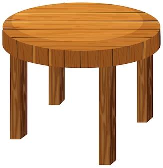 Okrągły drewniany stół na białym tle