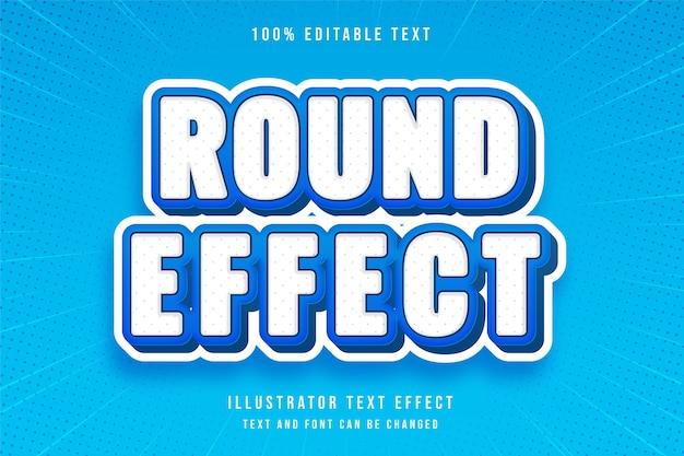 Okrągły efekt 3d edytowalny efekt tekstowy nowoczesny styl niebieski biały tekst