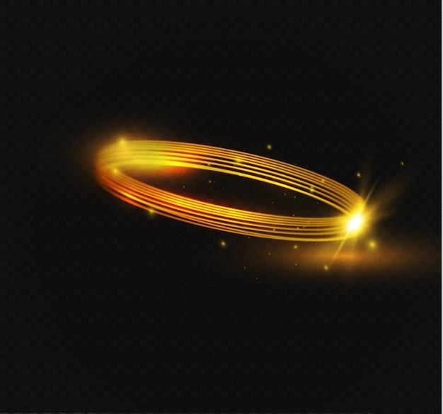 Okrągły efekt flary przezroczysty efekt świetlny. streszczenie elipsa krzyżowa. obrotowa linia żarzenia. energia świecące pierścień ślad tła.