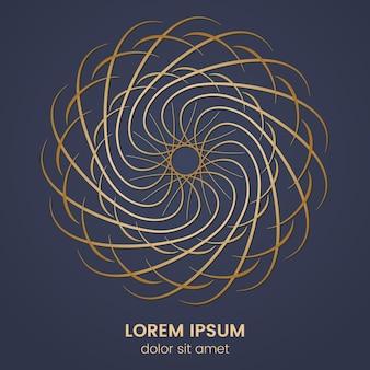 Okrągły element geometryczny wzór. wektor złoty monogram na ciemnym niebieskim tle. ilustracja wektorowa