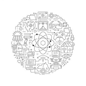 Okrągły element projektu z ikoną technologii