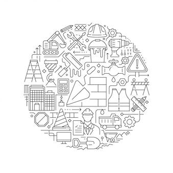 Okrągły element projektu z ikonami budowy