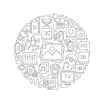 Okrągły element projektu z ikonami multimedialnymi