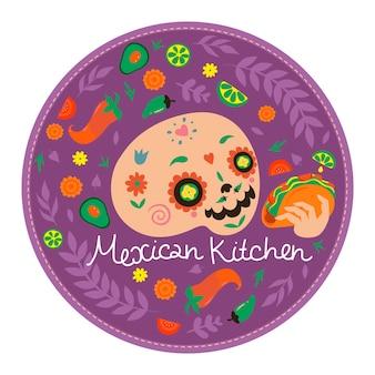 Okrągły emblemat meksykańskiej kuchni z czaszką i tacos. grafika wektorowa.