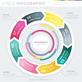 Okrągły infografika w kolorowym stylu