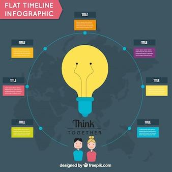 Okrągły infografika z żarówką