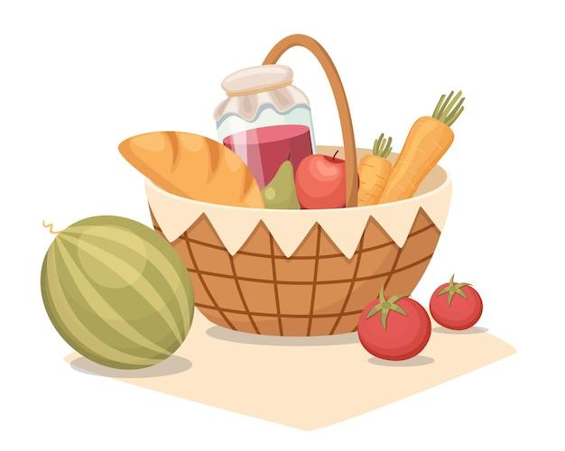 Okrągły kosz piknikowy z uchwytem i posiłkami na kocu. kosz z arbuzem, warzywami, słoikiem z dżemem i chlebem na letni wypoczynek na świeżym powietrzu, na białym tle tradycyjne wiklinowe pudełko. ilustracja kreskówka wektor