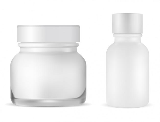 Okrągły kremowy słoik. butelka do pielęgnacji skóry twarzy. serum