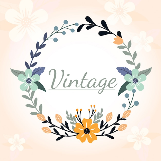 Okrągły kwiat ilustracja projekt vintage ozdobna rama