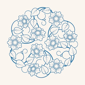 Okrągły kwiatowy ornament