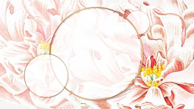 Okrągły kwiatowy piwonia rama wektor tapety