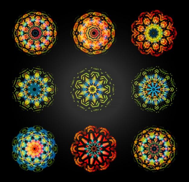 Okrągły kwiatowy zestaw. kalejdoskop, mandala, dekoracja diwali