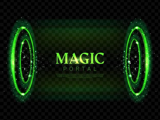 Okrągły magiczny portal neon tło
