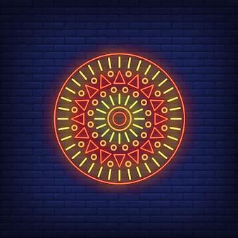 Okrągły motyw afrykański mandala neon znak