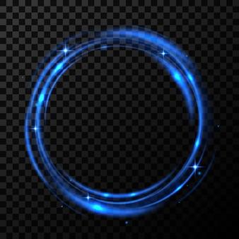 Okrągły niebieski błyszczący w przezroczystym tle