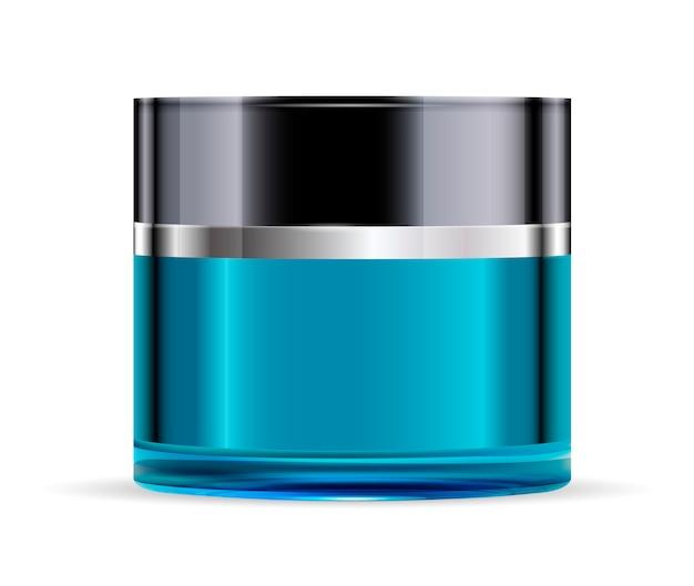 Okrągły niebieski szklany słoik z czarną błyszczącą plastikową pokrywką