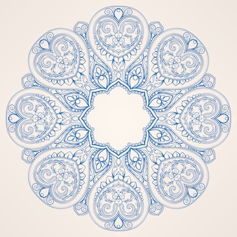 Okrągły niebieski wzór