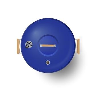 Okrągły niebieski zamknięty grill widok z góry realistyczny