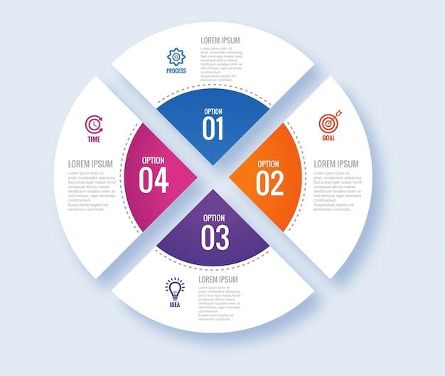 Okrągły nowoczesny plansza koncepcja z czterema krokami