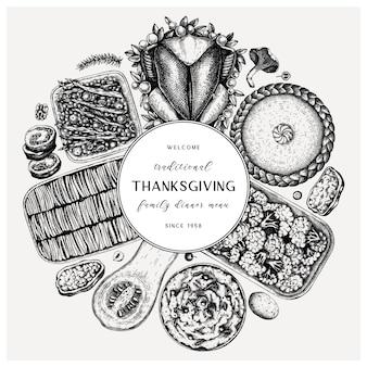 Okrągły obiad w święto dziękczynienia. z pieczonym indykiem, gotowanymi warzywami, roladą, pieczeniem ciast i szkicami placków. wieniec rocznik wina jesień. tło święto dziękczynienia.