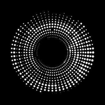 Okrągły okrąg biały i szary na czarnym tle