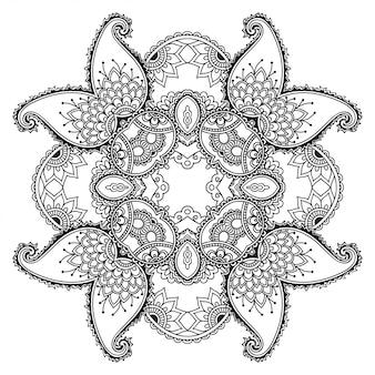 Okrągły ornament dekoracyjny w etnicznym stylu orientalnym, w formie mandali z dekoracją kwiatową. kontur doodle ręcznie rysować ilustracja.