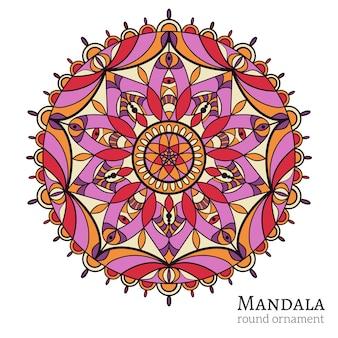 Okrągły ornament z motywami arabskimi i indyjskimi. święty symbol, buddyzm i medytacja, element dekoracji.