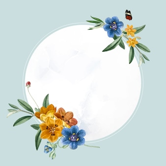 Okrągły owalny kwiatowy wektor ramki