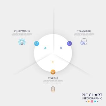 Okrągły papierowy biały wykres kołowy podzielony na 3 równe sektory z kolorowymi strzałkami wskazującymi symbole cienkiej linii i pola tekstowe. szablon projektu czysty plansza. ilustracja wektorowa do prezentacji.