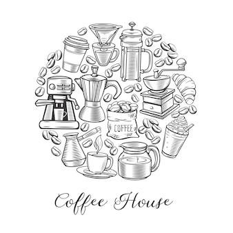 Okrągły plakat kawy