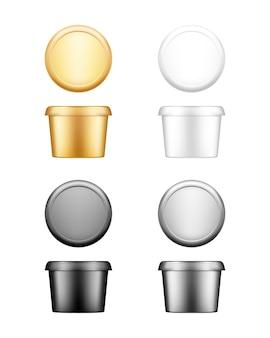 Okrągły pojemnik na masło, ser miękki lub margarynę z zestawem makiety wieczka - widok z przodu i z góry