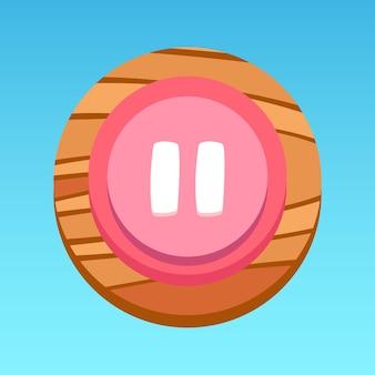 Okrągły przycisk pauzy aplikacji mobilnej różowy biały czerwony żółty brązowy z wektorem premium z wzorem drewna